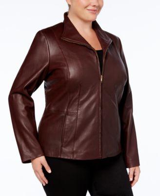 Cole Haan Plus Size Leather Jacket - Coats - Women - Macy's