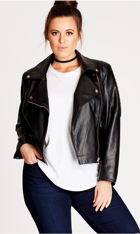 Be stylish with plus size   leather jacket