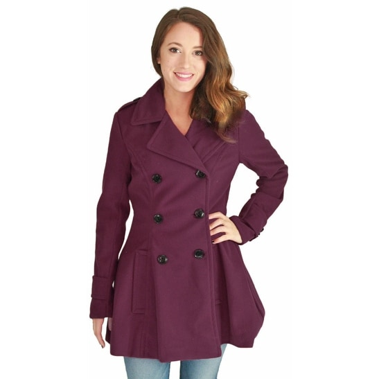 Shop Urban Republic Juniors Double Breasted Long Wool Peacoat Coat