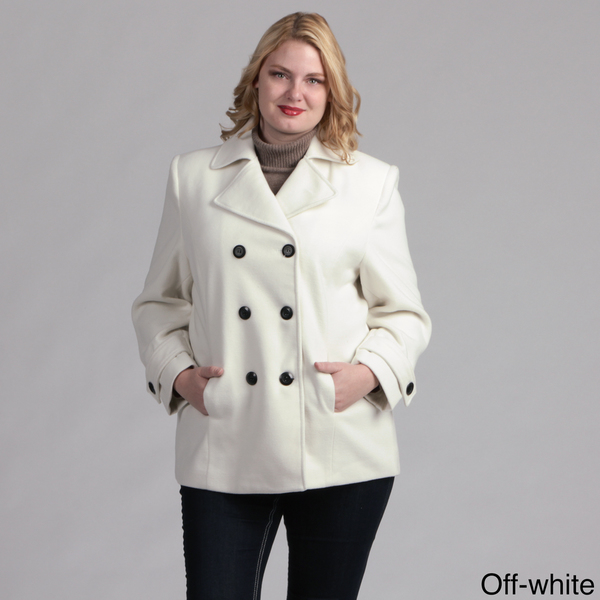 Lee - Women Plus Size Pea Coat Jacket Double Breasted by Cobb