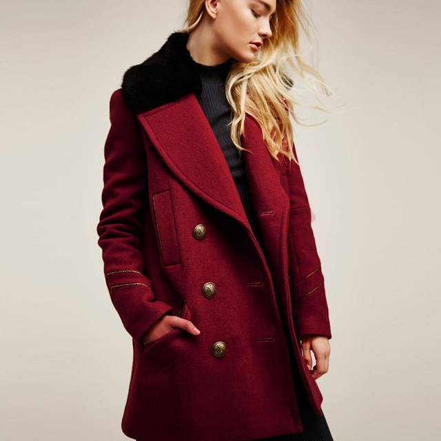 2018 Winter Coat Women Heavyweight Peacoat Jacket Cardigan Button