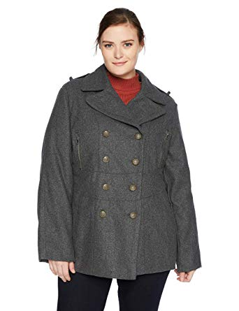 Excelled Women's Plus Size Wool Blend Fashion Pea Coat, Charcoal, 1X
