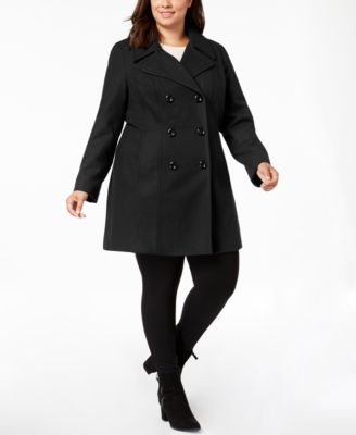 Anne Klein Plus Size Double-Breasted Peacoat - Coats - Women - Macy's