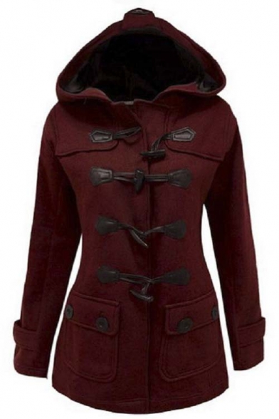 Women's Plus Size Long Sleeve Double Breasted Pea Coat Hoodie Winter
