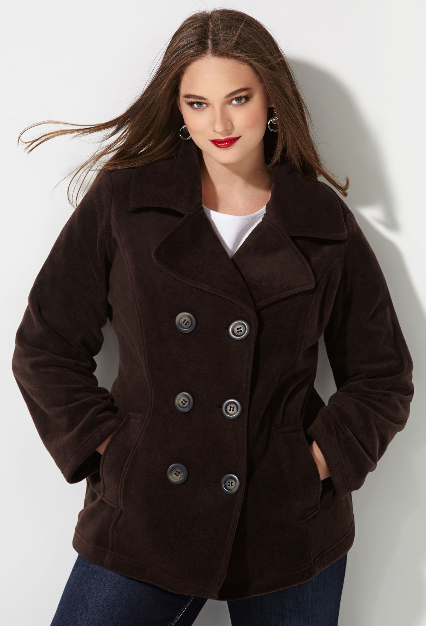 Double Breasted Fleece Peacoat-Plus Size Peacoats-Avenue