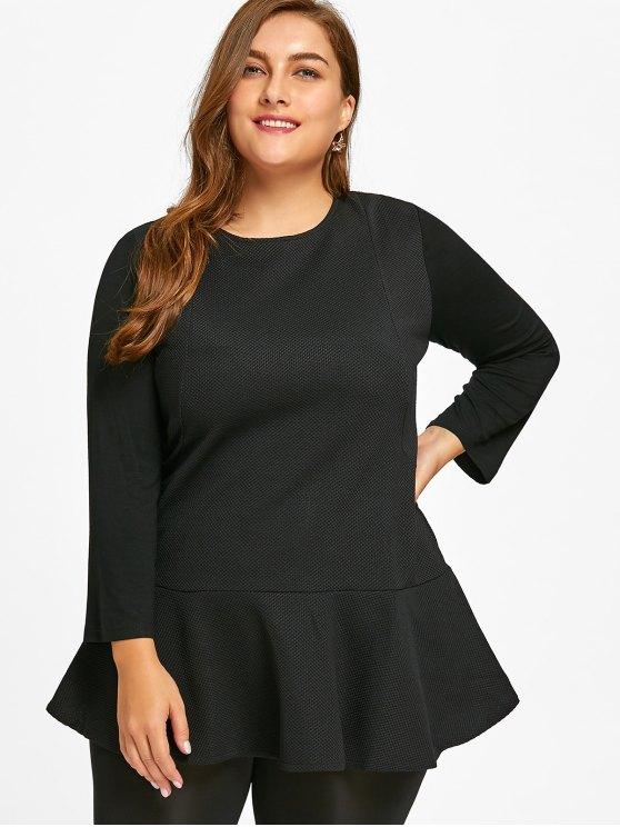 2019 Long Sleeve Plus Size Peplum Top In BLACK 4XL | ZAFUL
