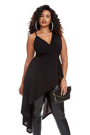 Women's Plus Size Avery Asymmetrical Hi Low Peplum Top at Amazon