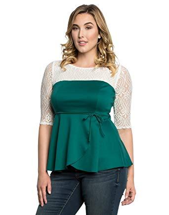 Kiyonna Women's Plus Size Paris Peplum Top 5X Jovial Jade at Amazon