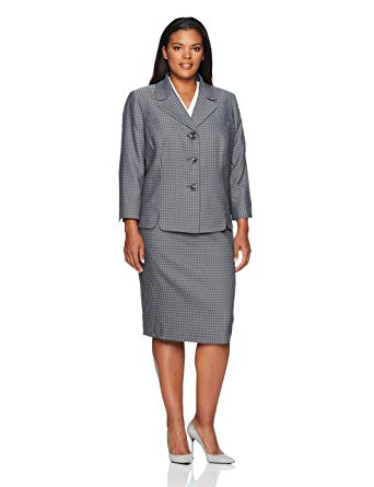 Amazon.com: Le Suit Women's Plus Size Houndstooth 3 Button Skirt