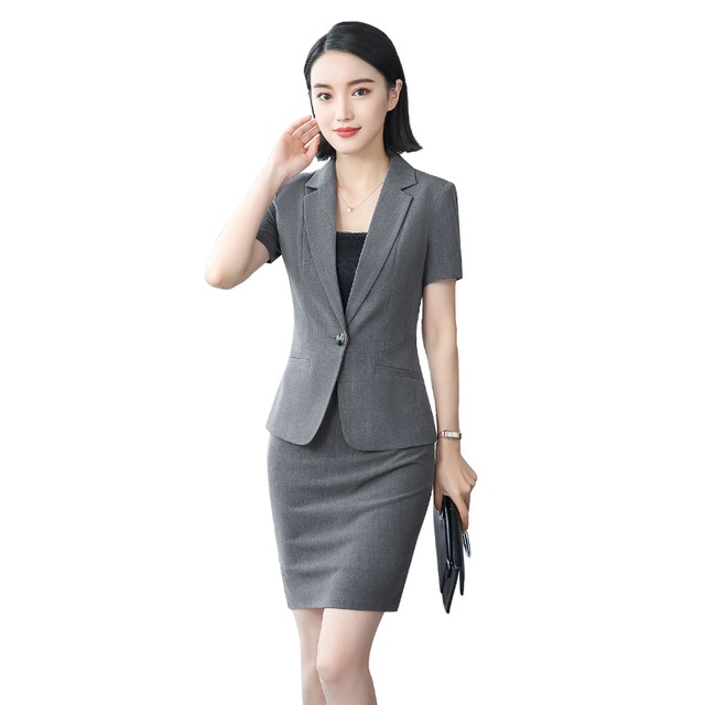 women office dress suits & blazer plus size elegant pencil skirt two