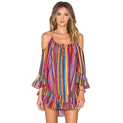 AmyDong Women's Dress, Plus Size Summer Rainbow Print Beach Dress