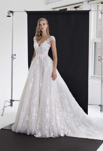 Floral Applique Tulle Ball Gown | Kleinfeld Bridal