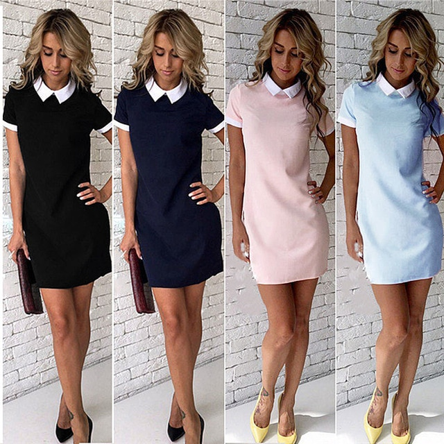 White Collar Summer Cute Peter Pan Collar School Preppy Style Short
