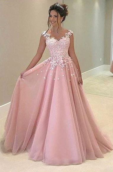New Pink Appliques Prom Dress,Long Prom Dresses,Charming Prom