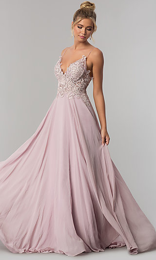 Chiffon Open-Back Long Prom Dress - PromGirl