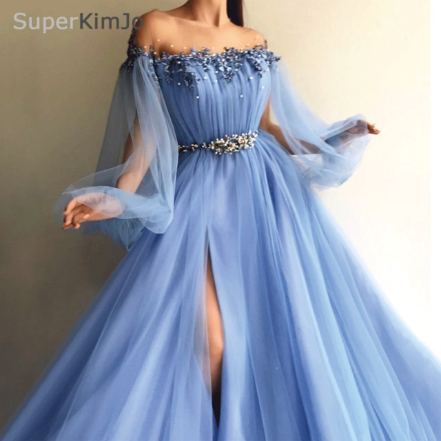 SuperKimJo Long Sleeve Beaded Prom Dresses 2019 Arabic Style Blue