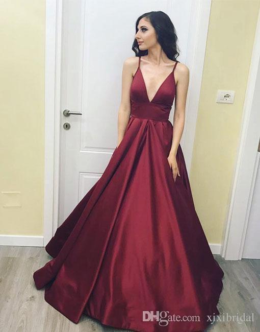 2018 Burgundy Simple V Neck Prom Dresses Sexy Spaghetti Strap Sweep