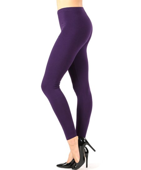 Zenana Dark Purple Leggings - Women | Zulily