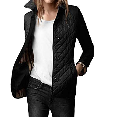 E.JAN1ST Women's Diamond Quilted Jacket Stand Collar Button End with