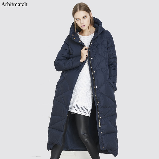 Arbitmatch Fashion Women's Long Hooded Down Jacket Female Duck Down