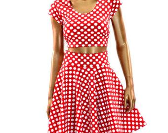 Polka dot red white minnie skirt | Etsy
