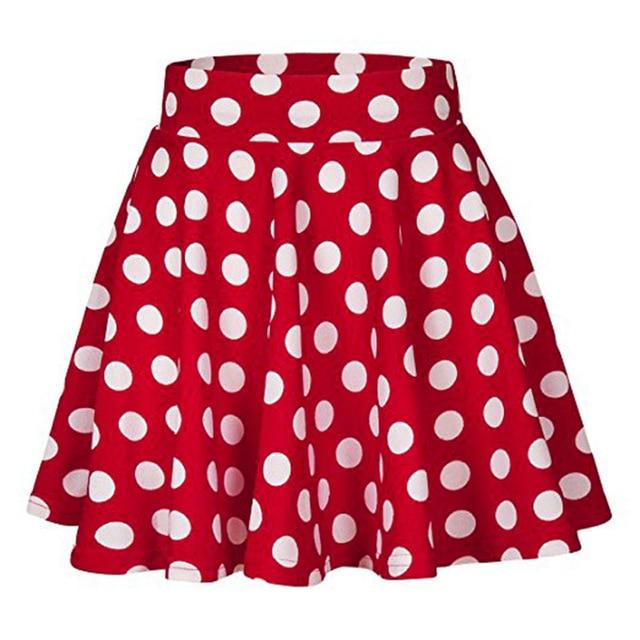 2018 Blue Red Black White Women Skirts Polka Dot High Waist Vintage