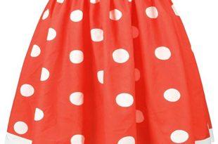 Women Red and White Polka Dot Flared Midi Skirt at Amazon Women's