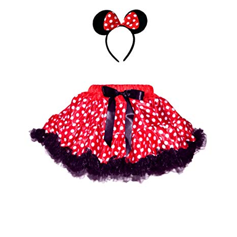 Amazon.com: Red/White Polka Dots Mouse Costumes 2 Layers Skirt w