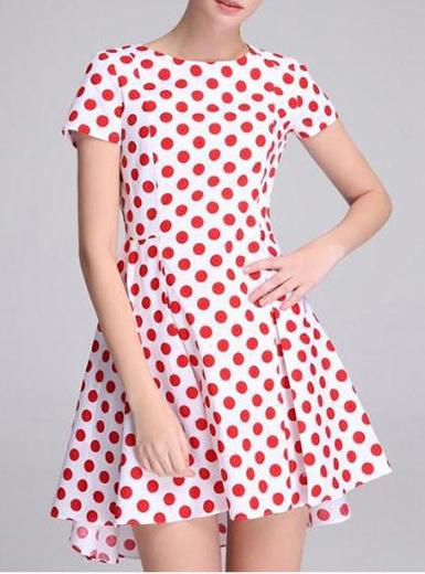 Women's Polka Dot Mini Dress - Circular Skirt / Red and White Polka Dots