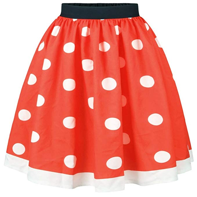 Look cute with the red and   white polka dot skirt
