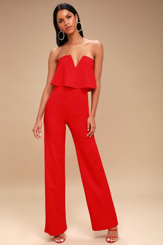 Sexy Red Jumpsuit - Strapless Jumpsuit - Wide Leg Jumpsuit