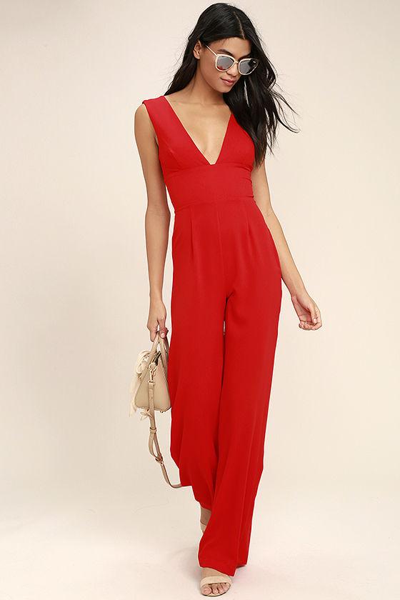 Chic Red Jumpsuit - Wide-Leg Jumpsuit - Woven Jumpsuit - $68.00