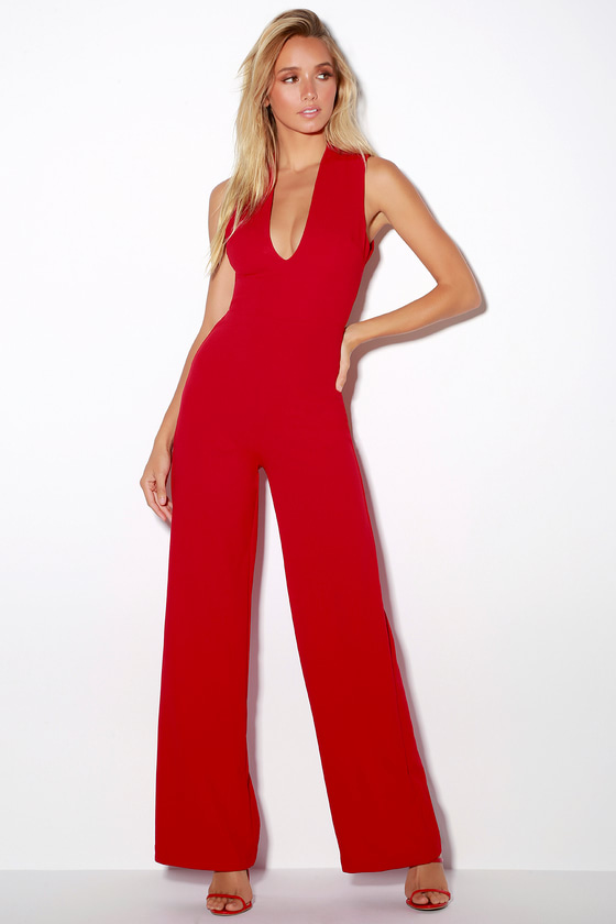 Chic Red Jumpsuit - Backless Jumpsuit - Sleeveless Jumpsuit