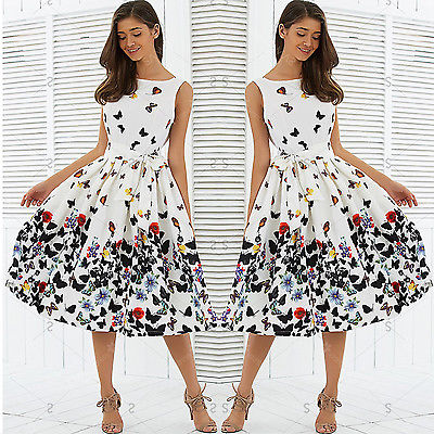 Women Vintage Retro Clothes Sleeveless Chiffon Butterfly print