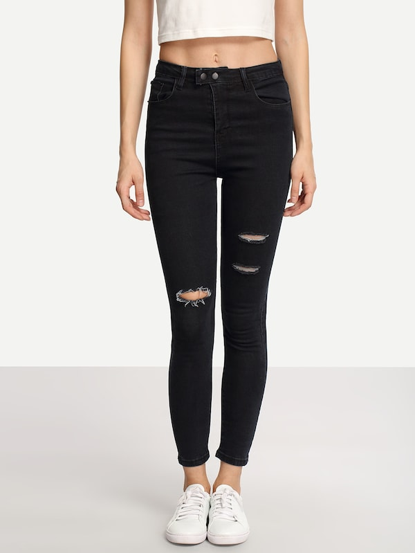 Ripped Black Skinny Jeans | SHEIN