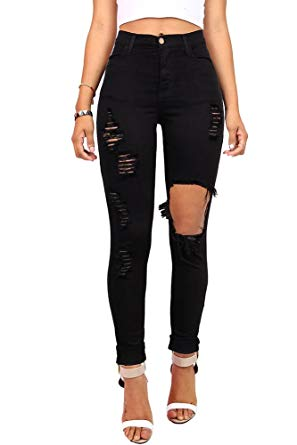 57ca4177cd2 Vibrant Women's Juniors Ripped Rise Skinny Jeans at Amazon Women's