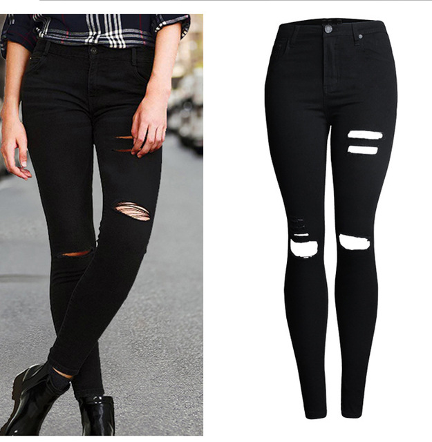 Sherhure 2018 High Waist Black Skinny Jeans For Woman jeans Ripped