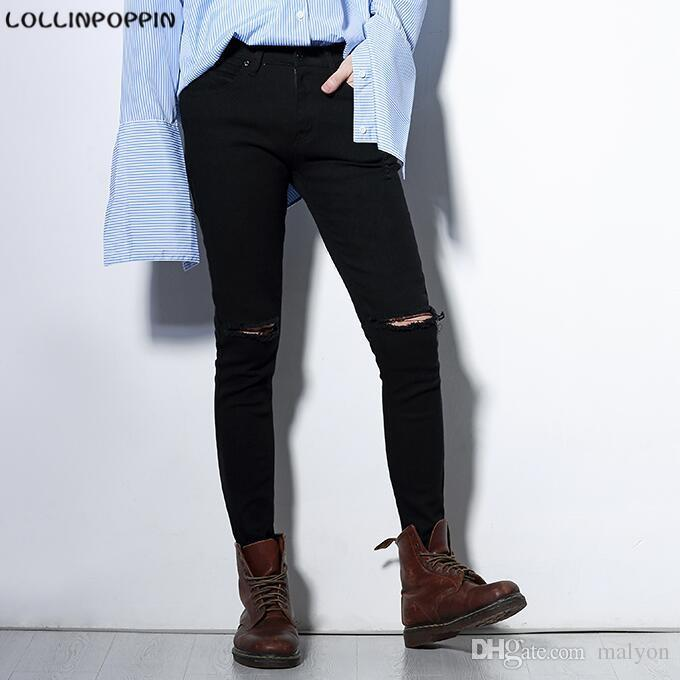 Wholesale Men Black Skinny Jeans Ripped Knee Broken Denim Pants New