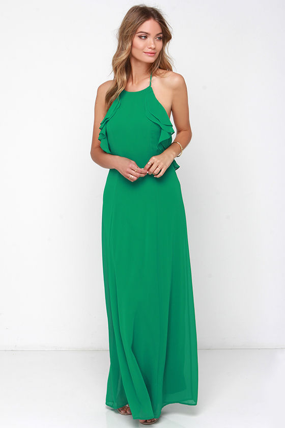 Pretty Green Dress - Halter Dress - Maxi Dress - Ruffle Dress - $58.00