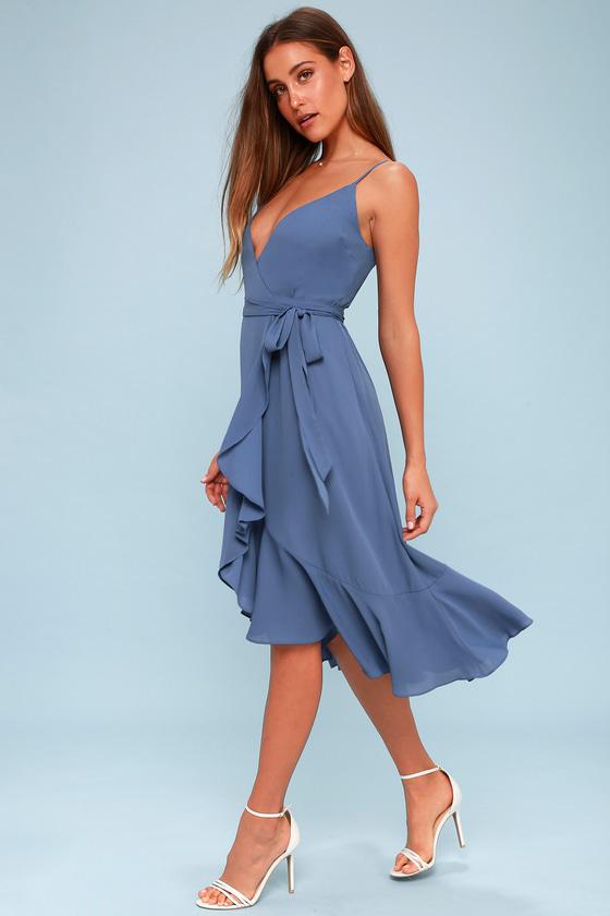Cute Wrap Dress - Midi Dress - Blue Dress - Ruffled Dress