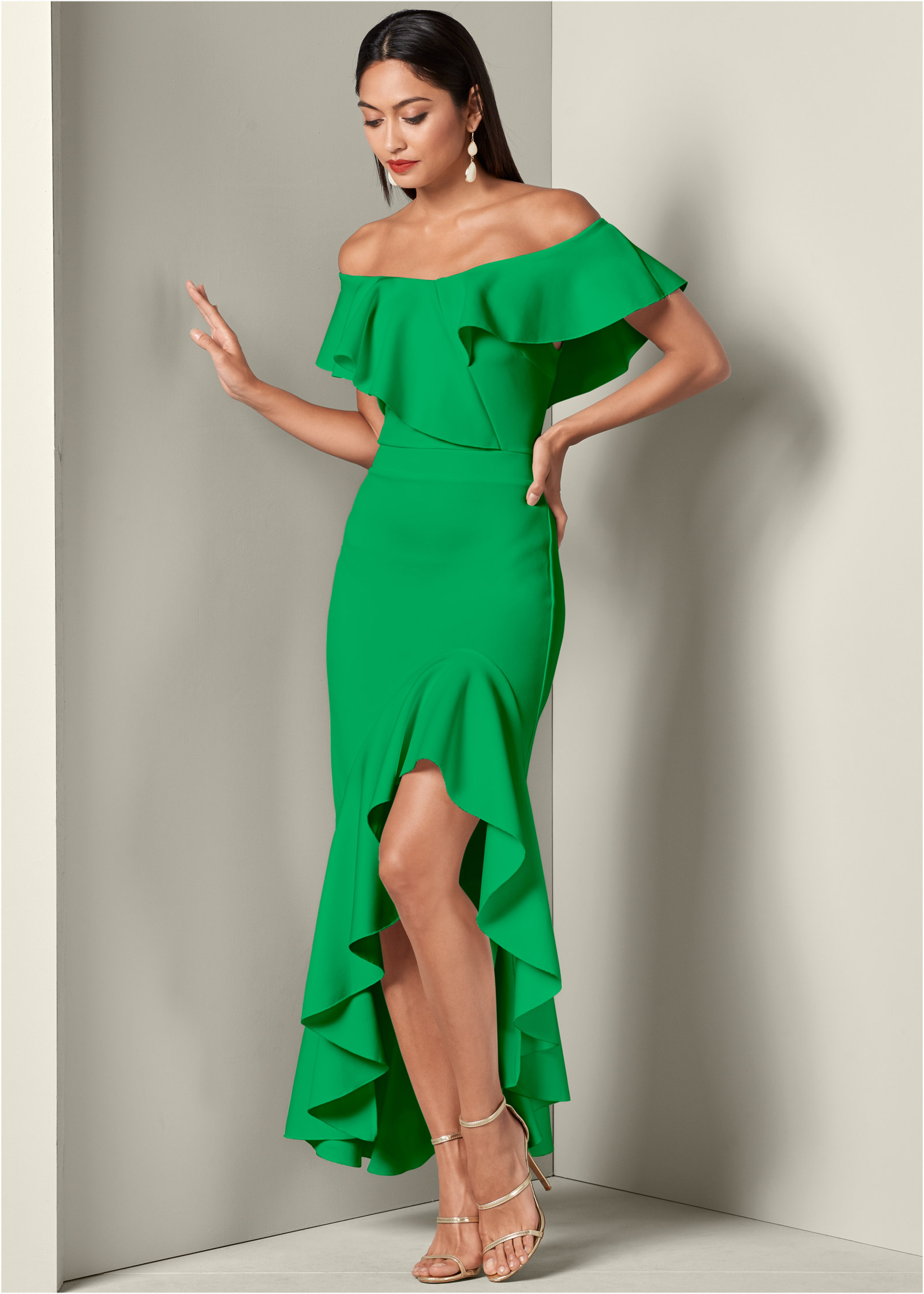 HIGH LOW RUFFLE DRESS in Green | VENUS
