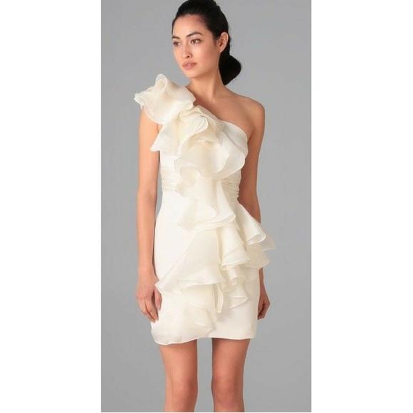 Marchesa Notte Dresses | One Shoulder Ruffle Dress New Sz 6 | Poshmark