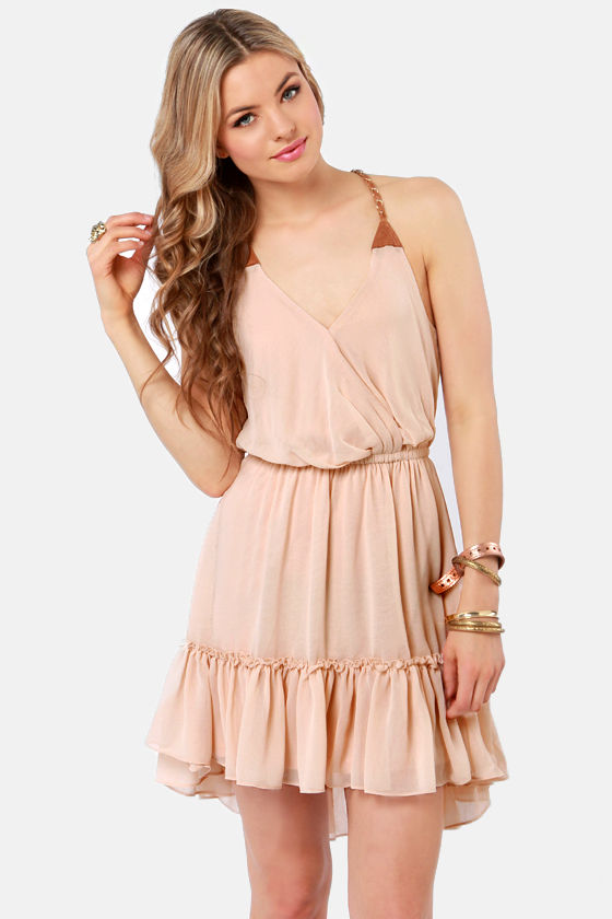 Cute Beige Dress - High-Low Dress - Ruffle Dress - $46.00