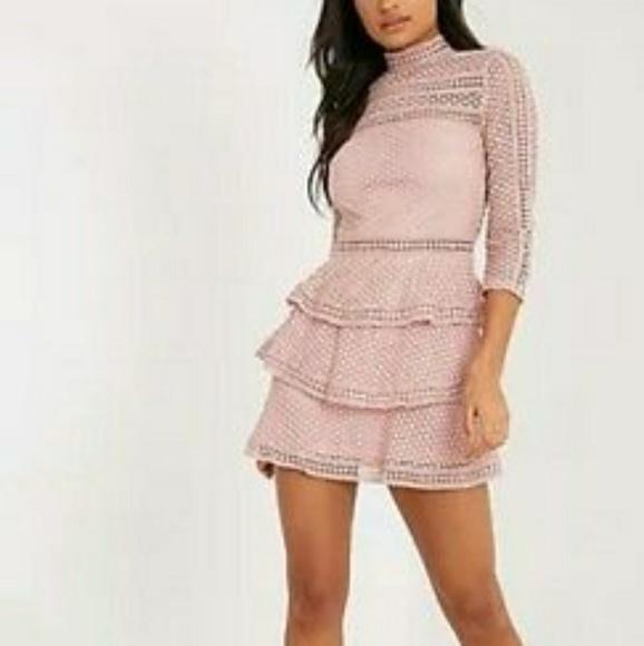 Pretty Little Thing Dresses | Pink Lace Ruffle Dress | Poshmark