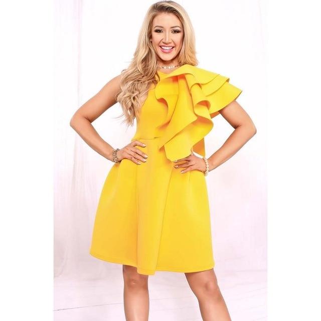 Yellow One Shoulder Ruffle Dress Scuba Knitting Fabric Dress Women