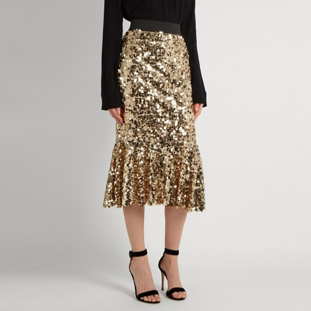 Glittering Gold Sequins Pencil Skirt Top Quality Fashion Mid Calf