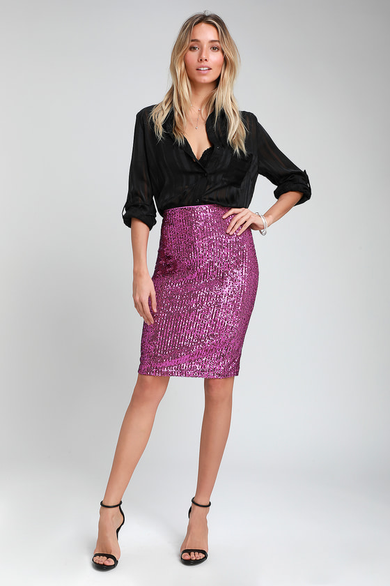 Sexy Magenta Pencil Skirt - Sequin Pencil Skirt - Pink Skirt