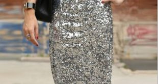 Bling Sequin Pencil Skirt 2017 Fashion Midi Skirt for Women Silver