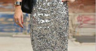 Bling Sequin Pencil Skirt 2017 Fashion Midi Skirt for Women Silver