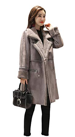Shineflow Women's Lapel Faux Fur Fleece Lined Parka Warm Winter